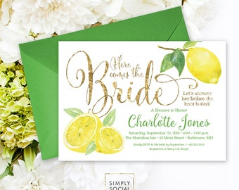 Lemon Bridal Shower Invitation - Fresh Lemon and Gold Glitter Invitation Printable Fresh Squeezed Lemonade Main Squeeze