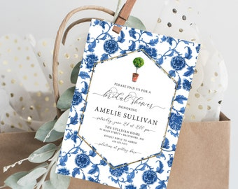 Italian Lemon Tree, Floral Chinoiserie Bridal Shower Invitation