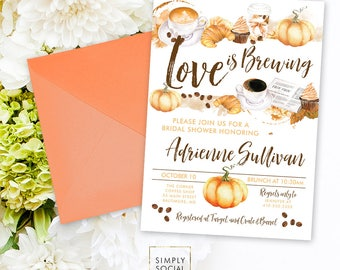 Pumpkin Spiced Latte Love is Brewing Coffee Bridal Shower Invitation