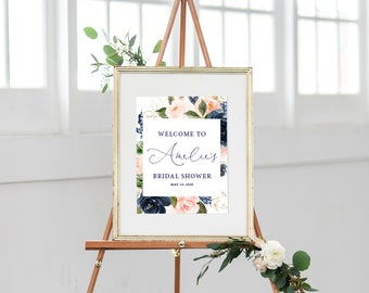 Blush and Navy Floral Bridal Shower Welcome Sign