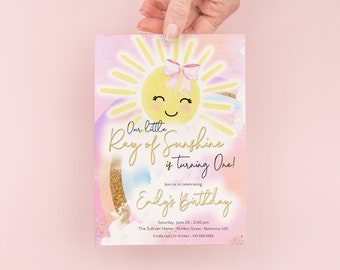 Sunshine Rainbow First Birthday Invitation - Our Little Ray of Sunshine - You are My Sunshine - Sunshine Girl Pink Invite