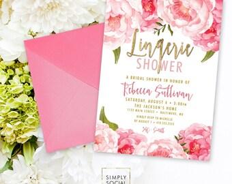 Lingerie Bridal Shower Invitation - Floral Peony Blush Faux Gold Foil Boho Flowers Pink Watercolor Botanical Romantic Printable Party Invite