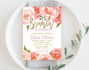 Brunch and Bubbly Bridal Shower Invitation - Peach