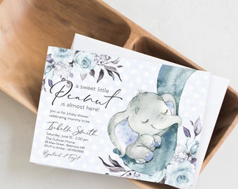 Blue Elephant Floral Baby Shower Invitation - Blue Flowers - Little Peanut - Peony Roses Greenery Invitation Watercolor Printable