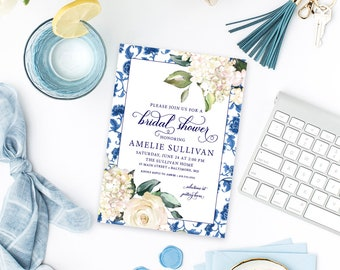 Blue and White Chinoiserie Hyndrangea Bridal Shower Invitation