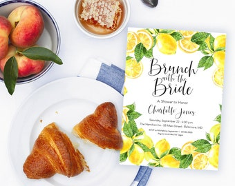Lemon Bridal Shower Invitation - Brunch with the Bride Fresh Lemon  Invitation Printable Fresh Squeezed Lemonade Main Squeeze