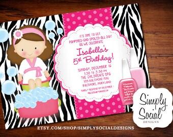 Kid's Spa Birthday Party Invitation Manicure Pedicure Nail Polish Zebra print Printable