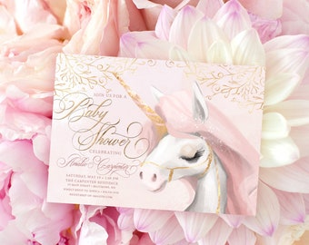 Magical Unicorn Baby Shower Invitation - It's a Girl