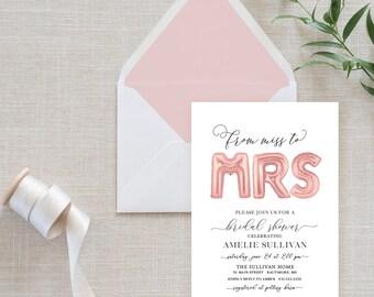 Rose Gold Ballon Bridal Shower Invitation - Miss to Mrs