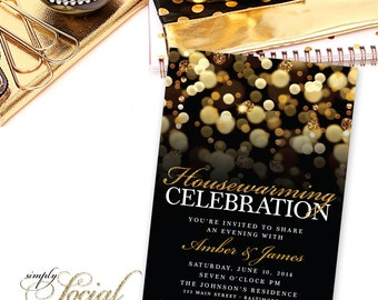 Housewarming Party Invitation. New House invite. Moving Invitations. Gold Glitter Bokeh PRINTABLE