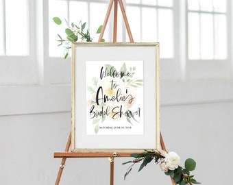 Blush Floral Bridal Shower Welcome Sign