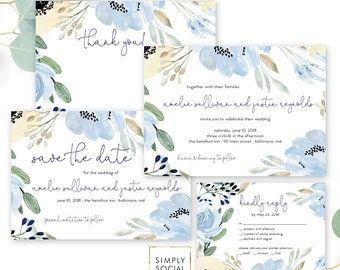 Something Blue - Wedding Invitation Suite - Boho - Blue Floral Save the Date - Reply Card - Thank You Note - Dusty Blue Invitation Printable