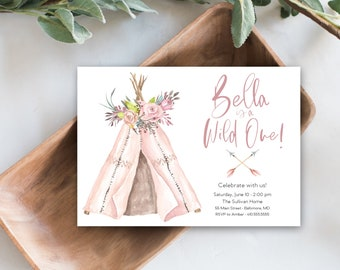 Girl Wild One First Birthday Invitation, Pink Boho Teepee Invite