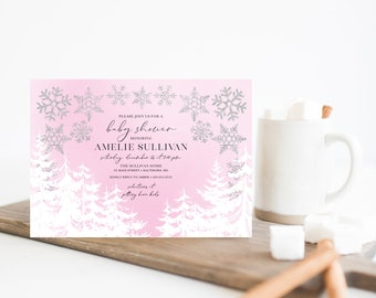 Snow Flakes with Pine Trees Baby Shower Invitation - Pink Baby It's Cold Outside - Girl Baby Shower - Winter Baby Shower