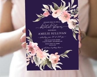 Fall Navy Floral Greenery Bridal Shower Invitation