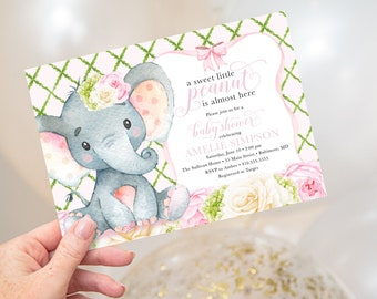 Pink Floral Elephant Baby Shower Invitation - Little Peanut is Almost Here - Sweet Little Peanut
