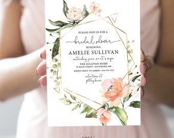 Pink Floral Bridal Shower Invitation - Blush Pink Flowers - Baby Shower - Peony Roses Greenery Geometric Invitation Watercolor Printable
