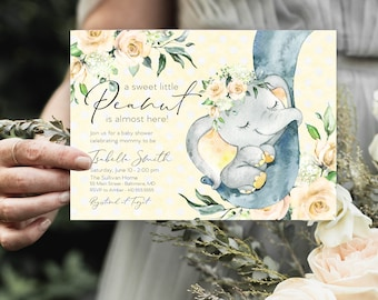 Yellow Floral Elephant Baby Shower Invitation - It's a Girl Watercolor Elephant - Little Peanut is Almost Here - Sweet Little Peanut