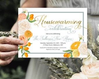 Orange Blossom Housewarming Party Invitation - Floral and Citrus Invitation