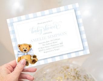 Blue Gingham Teddy Bear Baby Shower Invitation