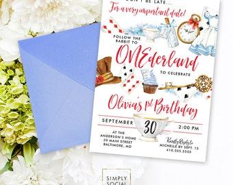 Onederland Wonderland Birthday Party Invitation - First Birthday - Alice - Wonderland Party