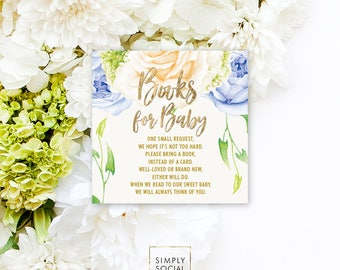 INSTANT DOWNLOAD Blue Floral Baby Shower Bring a Book Instead of a Card insert Books for Baby Flowers Faux Gold Foil Calligraphy PRINTABLE