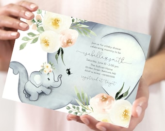 Blush Floral Elephant Baby Shower Invitation - It's a Girl Watercolor Elephant - Little Peanut is Almost Here - Sweet Little Peanut