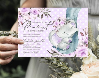 Purple Floral Elephant Baby Shower Invitation - It's a Girl Watercolor Elephant - Little Peanut is Almost Here - Sweet Little Peanut