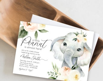 Floral Blush Elephant Baby Shower Invitation - It's a Girl Watercolor Elephant - Little Peanut is Almost Here - Sweet Little Peanut