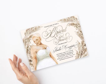 Plus Size Bride in a Dress Bridal Shower Invitation