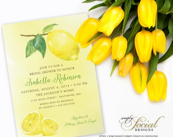 Fresh Lemon Bridal Shower Invitation Printable Fresh Squeezed Lemonade Main Squeeze