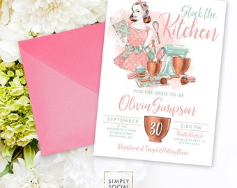 Retro Kitchen Bridal Shower Invitation