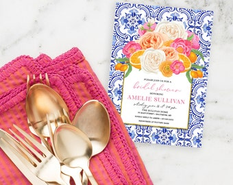 Orange Blossom Hot Pink Floral Bridal Shower Invitation  - Printed Invitations - Mimosa Invitation