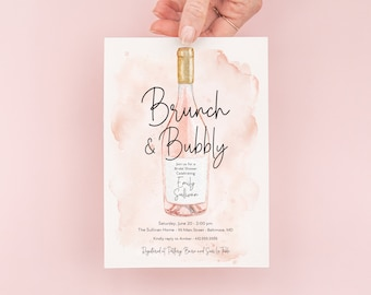 Brunch and Bubbly Bridal Shower Invitation - Champagne Brunch with the Bride