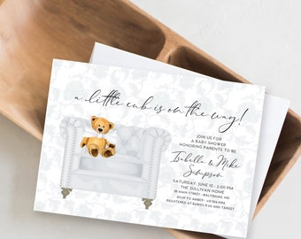 Gender Neutral Grey Chinoiserie Teddy Bear Baby Shower Invitation - Little Cub - Baby Bear