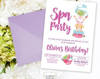 Kid's Spa Birthday Party Invitation - Spa Party Invite Nails and Toes Facials Manicure Pedicure Purple Pink Printable Invitation