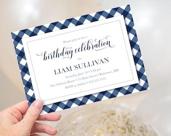 Navy Gingham Birthday Party Invitation