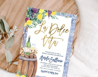 La Dolce Vita - Tuscan Winetasting Bridal Shower Invitation - Tuscany Lemon Bridal Shower - Winery Bridal Shower