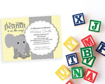 Elephant Baby Shower Invitation - Yellow Chevron and Grey Little Peanut is on the Way Gender Neutral Baby Shower Invite Printable