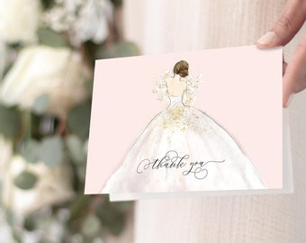 Blush Brunette Bride in a Gown Thank You Notes