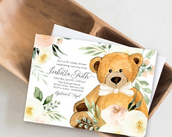 Blush Floral Teddy Bear Baby Shower Invitation - It's a Girl Watercolor Modern Baby Shower Pink Little Cub Printable - Baby Girl