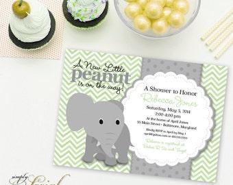Elephant Baby Shower Invitation Mint and Grey