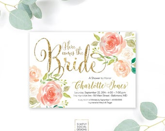 Peaches and Cream and Gold Bridal Shower Invitation - Coral Peach Floral Watercolor Peony Flowers Here Comes the Bride Printable