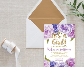 Purple Floral Baby Shower Invitation