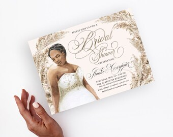 Plus Size African American Bride in a Dress Bridal Shower Invitation
