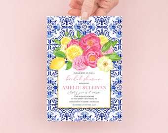 Tuscan Lemon and Fuschia Floral Bridal Shower Invitation - Portuguese Blue Tile and Lemon Bridal Shower Invitation