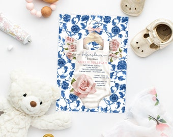 Blue Chinoiserie and Pink Floral Baby Shower Invitation