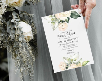 White Floral Bridal Shower Invitation - Cream Flowers - Baby Shower - Peony Roses Greenery Invitation Watercolor Printable