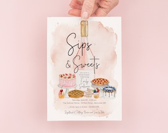 Sips and Sweets Bridal Shower Invitation - Champagne Brunch with the Bride - Bridal Luncheon - Bridesmaids Lunch - Brunch Invites
