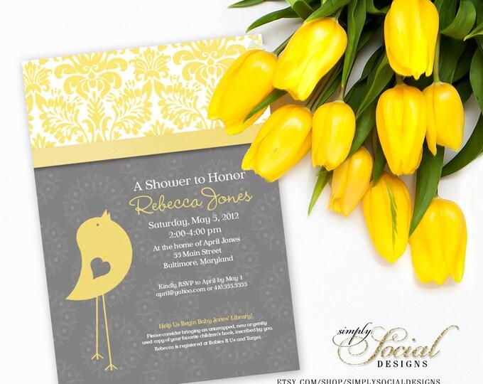 Baby Bird Theme Baby Shower Invitation Grey and Yellow